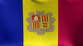Seamless Loop Flag of Andorra. High detailed waving flag of different countries from all over the world stock video