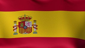Seamless Loop Flag of Spain. High detailed waving flag of different countries from all over the world stock video