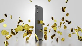 Seamless Loop Online Shopping 3D render Smartphone Rotating and Golden Dollar Coins Falling and Bouncing with Video Display