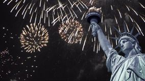 Seamless loop - Statue of liberty, night sky fireworks, HD video stock footage