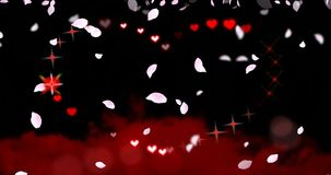 Seamless loop - Valentines Day Hearts and Sparkles with Falling Petals Loop. Seamless Loop of Valentines Day / wedding heart shape with chasing sparkles and stock video footage