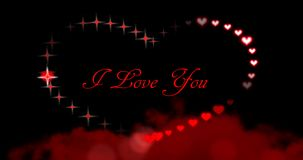 Seamless loop - Valentines Day Hearts and Sparkles I Love You Red stock video footage