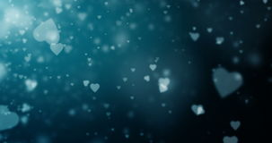 Seamless loop of white heart-shaped particles on a dark blue background stock video footage