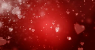 Seamless loop of white heart-shaped particles on a dark red background. Flying hearts on a dark red background seamless loop 4K video stock video footage