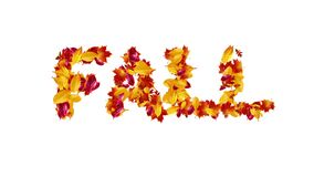 Seamless Loop Word Fall for Season Forming from Leaves
