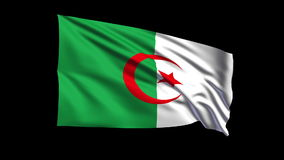 Seamless looping Algeria flag waving in the wind,Alpha channel is included Royalty Free Stock Photo