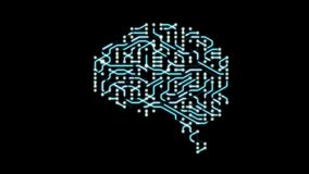 Seamless looping animation of a brain circuit board. 16-Bit. 4K UHD stock video