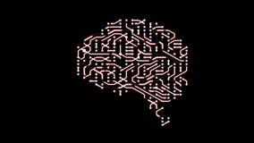 Seamless looping animation of a brain circuit board. 16-Bit. 4K UHD stock footage