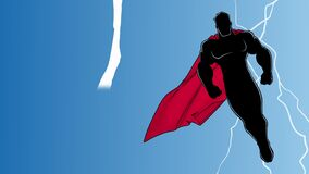 Superhero Flying During Thunderstorm Silhouette