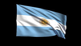 Seamless looping Argentina flag waving in the wind,Alpha channel is included Stock Images