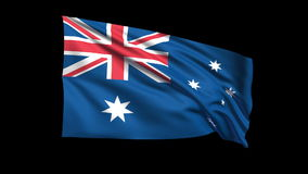 Seamless looping Australia flag waving in the wind,Alpha channel is included Stock Photo