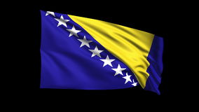 Seamless looping Bosnia flag waving in the wind,Alpha channel is included Stock Image