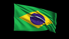 Seamless looping Brazil flag waving in the wind,Alpha channel is included Royalty Free Stock Photo
