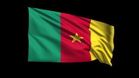 Seamless looping Cameroon flag waving in the wind,Alpha channel is included Royalty Free Stock Photos