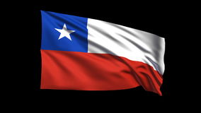 Seamless looping Chile flag waving in the wind,Alpha channel is included Royalty Free Stock Photo