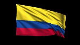 Seamless looping Colombia  flag waving in the wind,Alpha channel is included Stock Images