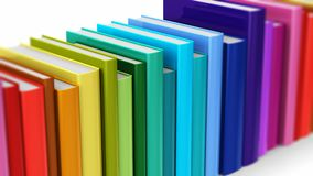 Seamless looping color hardcover books. Creative abstract science, knowledge, education, back to school, business and corporate office life concept: 3D render royalty free illustration