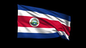 Seamless looping Costa Rica  flag waving in the wind,Alpha channel is included Stock Photos