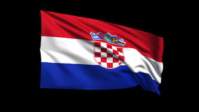 Seamless looping Croatia flag waving in the wind,Alpha channel is included Royalty Free Stock Photography
