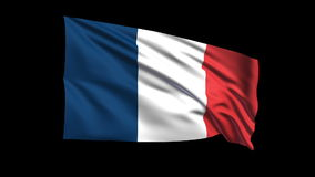 Seamless looping French Republic flag waving in the wind,Alpha channel is included Royalty Free Stock Photography