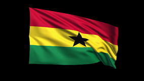 Seamless looping Ghana flag waving in the wind,Alp Stock Photography