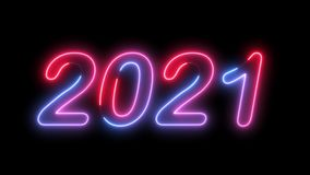 2021 New Year Neon Glow Lettering Animation