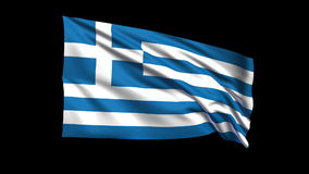 Seamless looping Hellenic Republic flag waving in the wind,Alpha channel is included Stock Images