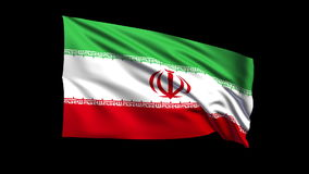 Seamless looping Islamic Republic of Iran flag waving in the wind,Alpha channel is included Stock Photos