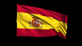 Seamless looping Kingdom of Spain flag waving in t Royalty Free Stock Photo