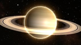 Beautiful View of Planet Saturn from Space Timelapse and Stars - 4K Seamless Loop Motion Background Animation