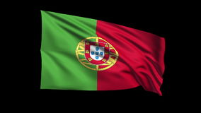 Seamless looping Portuguese Republic  flag waving  Royalty Free Stock Photos