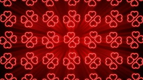 Seamless Looping Red and White Heart Animated Background stock video footage