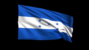 Seamless looping Republic of Honduras flag waving in the wind,Alpha channel is included Royalty Free Stock Images
