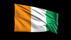 Seamless looping Republic of Ivory Coast  flag wav Stock Images