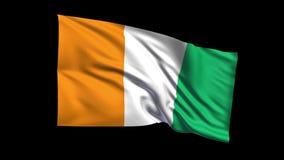 Seamless looping Republic of Ivory Coast  flag wav stock video footage