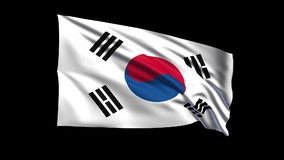 Seamless looping Republic of Korea flag waving in  Stock Photo