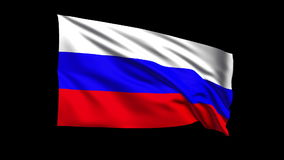 Seamless looping Russian Federation flag waving in. The wind (Alpha channel is included stock footage