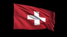 Seamless looping Swiss Confederation  flag waving  Royalty Free Stock Photo
