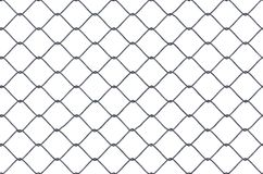 Seamless looping texture of metallic chain link fence on white background. 3D rendered illustration.  Stock Images