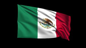Seamless looping United Mexican States flag waving stock video footage