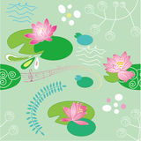 Seamless lotus flower background Royalty Free Stock Photos