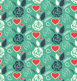 Seamless Love Abstract Pattern with Roses Flowers and Hearts on Royalty Free Stock Photo