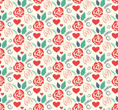 Seamless Love Abstract Pattern with Roses Flowers and Hearts on Royalty Free Stock Image