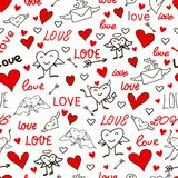 Seamless love and heart background. Stock Photo