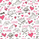 Seamless love and heart background. Stock Images