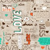 Seamless love letter pattern. Vector illustration background stock illustration