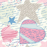 Seamless love letters. Pattern imitation handwriting, all of the words are fake, but true feelings vector illustration
