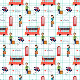 Seamless love London England Great Britain Pattern vector illust Royalty Free Stock Photo