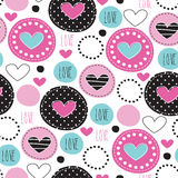 Seamless love polka dots pattern vector illustration. Love polka dots pattern vector illustration Stock Photos