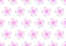 Seamless lovely papercut spring blooming pink japanese sakura pattern vector illustration